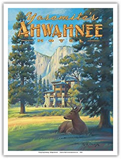 Pacifica Island Art Ahwahnee Hotel - Yosemite National Park - Vintage Style World Travel Poster by Kerne Erickson - Master Art Print - 9in x 12in