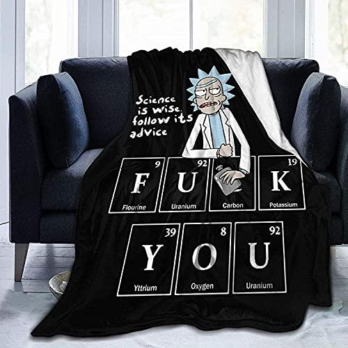 Rick and Morty - Manta para sofá de franela de lujo, adecuada para dormitorio con aire acondicionado, tamaño completo (Rick-3, 130 x 150 cm)