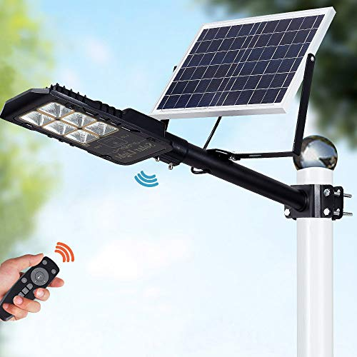 80W LED Solar Street Lights Outdoor Lamp, Dusk to Dawn Pole Light with Remote Control, Waterproof, Ideal for Parking Lot, Yard, Garage and Garden (Cool White)