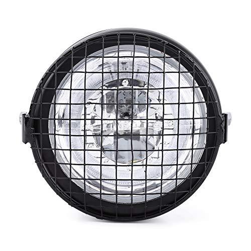 Akozon Faro per faro a LED Griglia per faro da 6,5 pollici Copertura laterale per montaggio con staffa per Cafe Racer