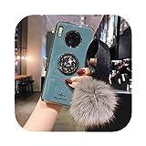 最新の人気 For Huawei P30 P20 Mate 30 20 Pro lite Nova 3i 5t 5 Pro 6用の豪華なボールリストケースHonor 20 9X V30 Proケース用のメッキスタンドカバー-Grey Blue- For Nova 3i