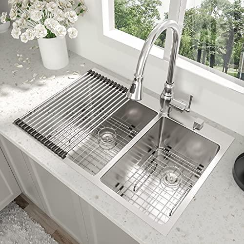 "33 Inch Drop-in Sink - Beslend 33""x22""x10"" Topmount Stainless Steel 16 Gauge Kitchen Sink 10 Inch Deep 60/40 Double Bowl Kitchen Sink Basin"