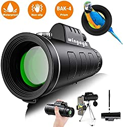 Monocular Telescope - 12x50 High Power HD Compact Monocular with Smartphone Holder & Phone Tripod for Adults Kids, Night Vision IPX7 Waterproof FMC BAK4 Prism Scope for Bird Watching