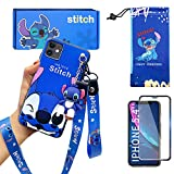 iPhone 11 case with HD Screen Protector, Cute Stitch Cartoon 3D Character Silicone Cover Case for Apple iPhone 11 6.1' with 2 Lanyard, 1 Cell Phone Stand, 1 Phone Storage Bag