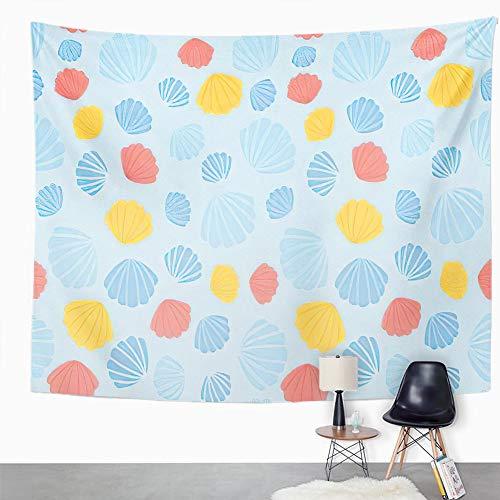 Y·JIANG Tapiz colorido, moderno de verano, conchas marinas, playa, dormitorio, decoración grande, manta ancha para colgar en la pared para sala de estar, dormitorio, 80 x 60 pulgadas
