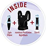 manduca First Bundle  PureCotton NightBlack  (Auslaufmodell) Von Geburt an Paket incl. SizeIt (Stegverkleinerer) & ZipIn Ellipse (für Neugeborene), schwarz