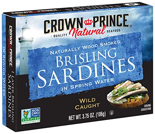 Crown Prince Natural One Layer Brisling Sardines in Spring Water, 3.75-Ounce Cans (Pack of 12) (Packaging May Vary)