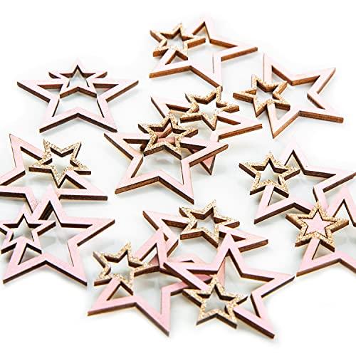 Logbuch-Verlag 12 Holzsterne zum Streuen rosa gold Streudeko Tischdeko Sterne aus Holz 3,5 cm Deko Weihnachten