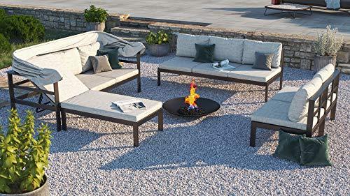 ARTELIA Dario Aluminium Polywood Loungegruppe Loungemöbel Gartenmöbel-Set Sitzgruppe für Garten, Terrasse und Wintergarten, Premium Terrassenmöbel Anthrazit