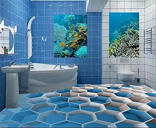 Azulejos de suelo 3D personalizados para baños pintura de suelo 3d caja azul autoadhesivo suelo de pvc 3d impermeable-200x140cm