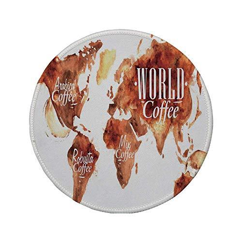 Rutschfreies Gummi-rundes Mauspad Kaffeekunst Kontinent-Weltkarte mit verschiedenen Typen Beschriftung Spritzer und Flecken dekorativ gebranntes Sienna-Weiß 7.9