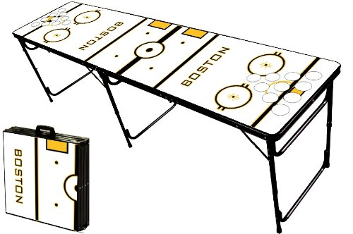 Save %10 Now! 8-Foot Professional Beer Pong Table w/Holes – Boston Hockey Rink Graphic