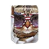 qfkj con Espejo Estuche para lápiz Labial,El Gato con Gafas de Sol Americanas