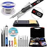 Soldering Iron Kit Electronics,Ockered 110V 60W Adjustable Temperature Welding Tool,With ON/OFF Switch,5pcs Soldering Tips,Desoldering Pump,Soldering Iron Stand,Tweezers
