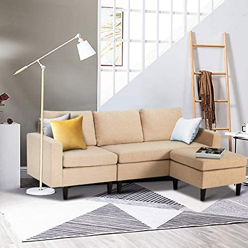 Best Esright Small Sectional Sofa Couch 3 Piece Living Room Small Convertible Couch Modern Linen Fabric L