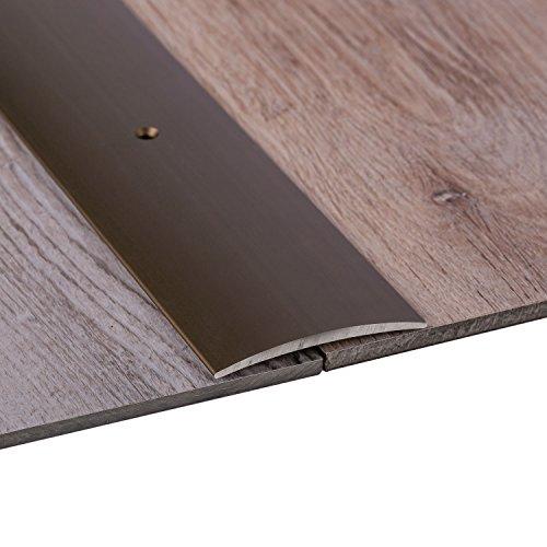 Gedotec Übergangsprofil Laminat - Vinyl Übergangs-Schiene gelocht Bodenprofil gewölbt | Türschwelle zum Schrauben | Alu Bronze eloxiert | Profil 50 x 1000 mm | 1 Stück inkl. Schrauben in Leistenfarbe