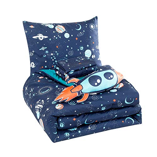 WPM Kids Collection Bedding 4 Piece Blue Space Ship Rocket Print Twin Size Comforter Set with Sheet Pillow sham and Rocket Toy Fun Stars Planets Design (Pandora, Twin Comforter)