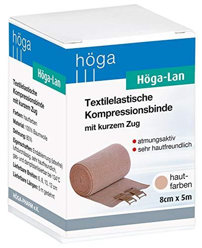 Höga Lan, Textilelastische Kompressionsbinde mit kurzem Zug - 8 cm x 5 m gedehnt – sehr hautfreundlich, atmungsaktiv, elastisch waschbar