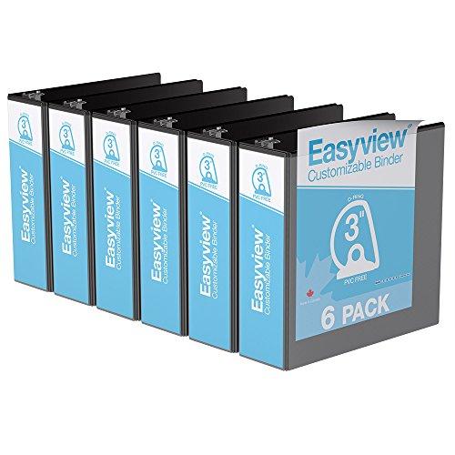 Easyview Premium, Angle D Ring, Customizable, View Binder, 6 Pack (3', Black)