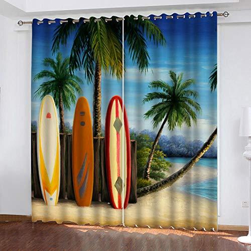 BZCBX Cortinas Tabla de Surf 3D Ojetes Cortina, Evitar Rayos UV la Luz Proteccion Privacidad Cortina para Salon Cocina Habitacion,2 Piezas 91.5(W) x214(H) cm