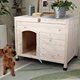 Friday discount Pet Dog House Indoor 3 Steps Assembly Natural Wooden Cabin Kennel Cat Puppy Room with Openable Top & Removable Bottom, Adjustable Foot and Wire Door