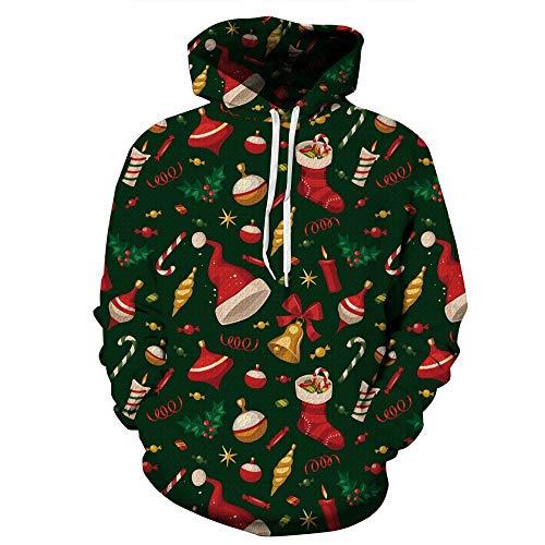XINGMU Nouveau Sweatshirt À Capuche Style De Noël Chapeau Chaussettes Cadeau Pull À Capuche Décontracté À Manches Longues Et À Manches Longues-L/XL