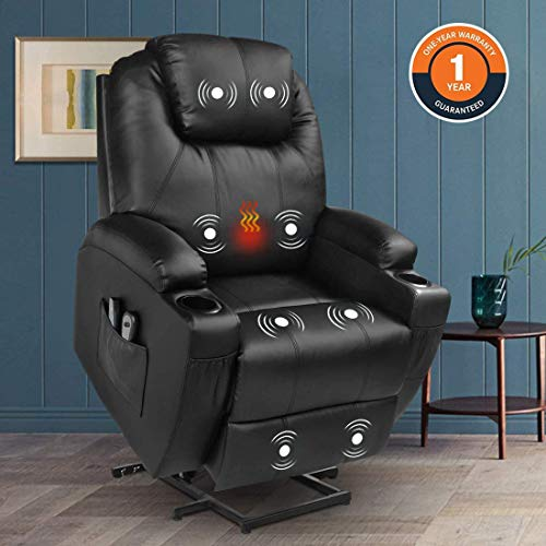Magic Union Power Lift Chair Electric Recliner Faux Leather Heated Vibration Massage Sofa with Remote Controls Side Pockets for Elderly Catnap