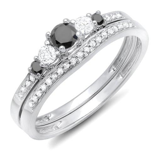Dazzlingrock Collection 0.45 Carat (ctw) 14k Round Black And White Diamond Ladies 5 Stone Bridal Engagement Ring Matching Band Set 1/2 CT, White Gold, Size 8.5