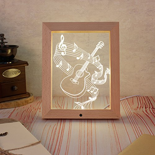 Haodasi Guitar 3D Romantic LED Wood Photo Frame Lamp White-Warm Decoration Control Light