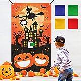 K KUMEED Halloween Party Spiele wurfspiel für Kinder, Spinnenschläger Kürbis hängend werfen Spiel mit 4 Sitzsäcken Halloween Draußen Indoor Wurfspiele für Kinder Halloween Party Dekoration