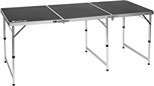 KUTON Folding Table, 6FT Camping Table, Aluminum Lightweight Table, Max. Capacity 88lbs, Adjustable Height Long Table for Picnic, Camping, Hiking, Gathering, Beach, Ideal for Indoor & Outdoor