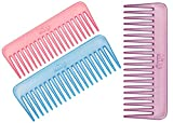 Lily Wide Teeth Multicolor Shampoo Combs for Women, Set of 3
