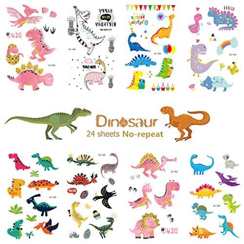 RG-FA Tatouages Temporaires Dinosaure pour Enfants Partie 300 Tatouages (Lot de 24 Feuilles) Imperméable À La Fête Fournitures Party Favors