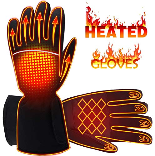 Rabbitroom Rechargeable Electric Battery Heated Gloves for Men&Women 4.5V Battery Powered Gloves Waterproof Touchscreen Winter Thermal Arthritic Gloves for Outdoor Sport (Not Included Battery)