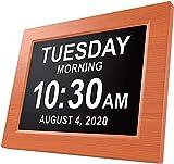 LZW Lifetime Americana Oggi Orologio Extra Grande Orologio Digitale Visione Alterata con Batteria di Backup E Molteplici Opzioni di Allarme, Mogano, Mogano, 8 Pollici,3