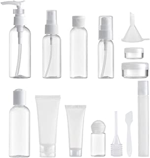 MYLL 14 Piezas Set Botellas de Viaje Accesorios (Max. 100ml) Botella Plastico Avion, Contenedor Dosificador, Envases para Cosmetica, Kit Botes (Transparente)