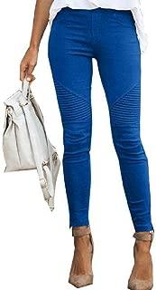 UUYUK Women Casual Slim Stretchy Long Pants Pure Color Pencil Pants