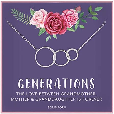 SOLINFOR Generations Necklace Sterling Silver Jewelry with Gift Wrapping Card Gifts for Grandma product image
