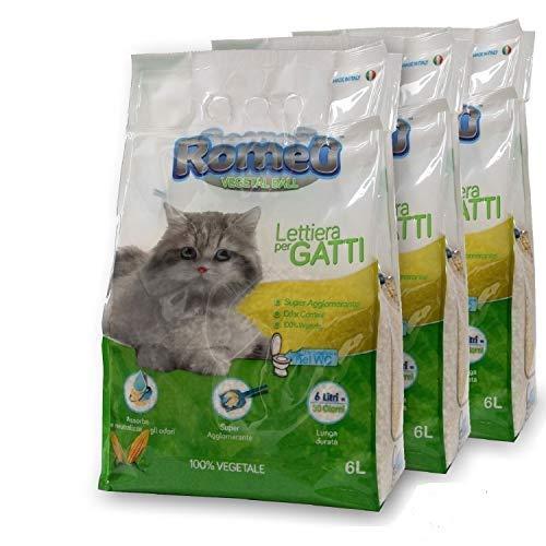 ROMEO Vegetal Ball, lettiera per gatti 18 litri sabbia gatto agglomerante, 100{475e2de6d167cde49de473eb8bc71778864e3eb1d67a2f857abc987e354aeda0} vegetale mais bianco, lettiera gatto assorbe e neutralizza odori e liquidi, sabbia per gatti smaltibile nel Wc, organico
