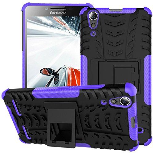 TiHen Handyhülle für Lenovo K3/A6000 Hülle, 360 Grad Ganzkörper Schutzhülle + Panzerglas Schutzfolie 2 Stück Stoßfest zhülle Handys Tasche Bumper Hülle Cover Skin mit Ständer -lila