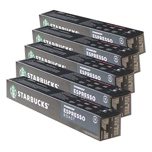 Starbucks Espresso Roast - Juego de 5 cápsulas de café espresso (roast, café tostado, compatible con Nespresso, 50 cápsulas)
