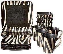 31be523d29b American Atelier Safari 16-Piece White Zebra Dinnerware Set ...