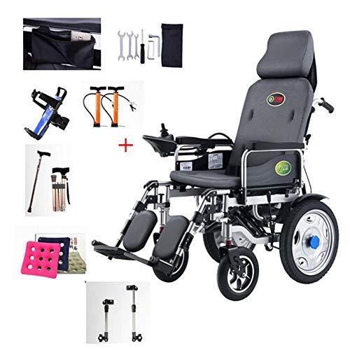GUTYRE Faltbare Elektro-Rollstuhl mit Kopfstütze, automatischer Gehhilfe Rollstuhl mit Verstellbarer Rückenlehne und Pedale für senioren Behinderte, Can Reisen 15km