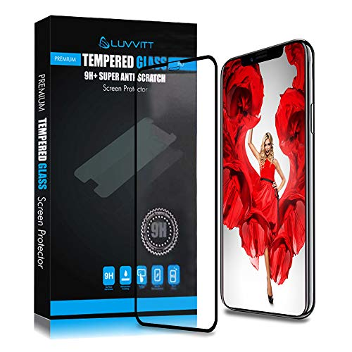 Luvvitt iPhone Xs Max Tempered Glass Screen Protector Case Compatible/Friendly 3D Curved Edge Shield for Apple Phone XS Max 6.5 inch 2018 - Clear/Black