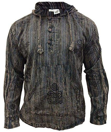 SHOPOHOLIC FASHION Herren Stonewashed gestreift mit Kapuze Hippy Großvater Shirt - Schwarz, X-Large