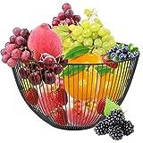 CENBEN Canasta de Frutas, 25x14cm Canasta de Frutas, Canasta de Hierro Hueco, Canasta de Frutas Negra Vintage Multifuncional para Decoración de Encimeras y Almacenamiento de Frutas