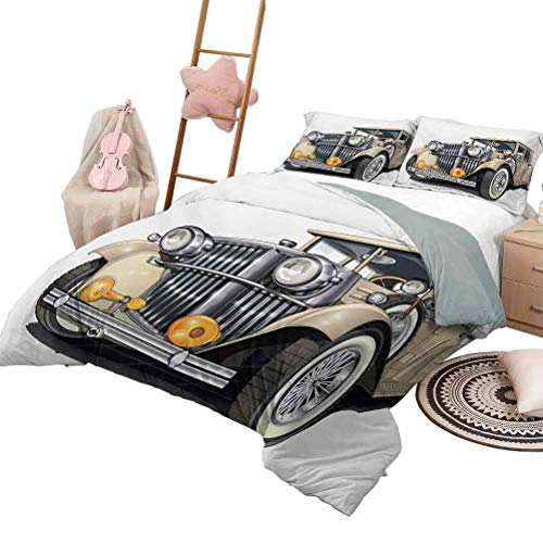Daybed Quilt Set Cars for Boys and Girls Vintage Vehicle Design Retro Car Hand Drawn Digital Classical Automobile Print Queen Size Eggshell Silver