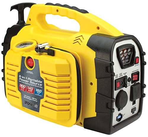 Lowest Prices! Rally Portable 8 in 1 Jump Starter and Power Source Unit with Air Compressor/Tire Inf...