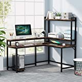 Tribesigns L Shaped Desk with Hutch and Monitor Stand, Corner Computer Desk Home Office Desk with Storage Shelf, Gaming Table Workstation,CPU Stand Included, (Rustic &Black)