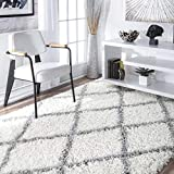 nuLOOM Trellis Cozy Soft & Plush Shag Rug, 6' 7' x 9', White